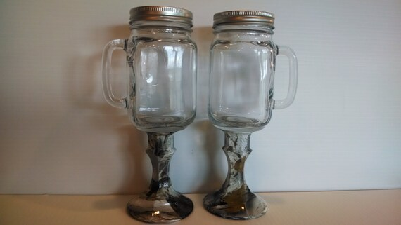 Mason jar beer mugs with camo stem for rustic wedding in the - Stemmed mason jars ...