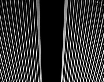 Black and White Abstract Photography, Black Architecture Photograph, Los Angeles Skyscraper, Black Contemporary Print, Black Home Decor