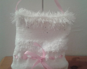 Knitted Handbag, bridesmaid gift, multi-texture bag, wedding accessory, bags and purses