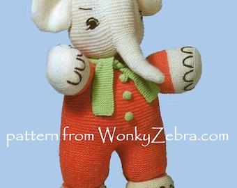 Vintage Elephant Toy Knitting Pattern PDF 521 from ToyPatternLand and WonkyZebra