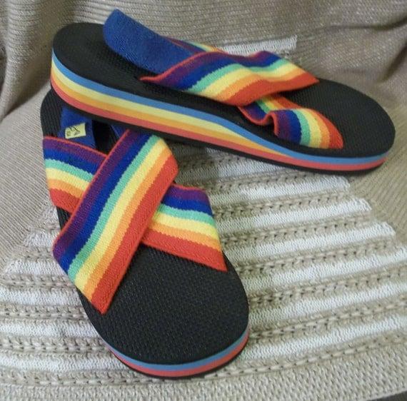 c87f6abf12176b GROOOOOVY Rainbow Hippy Flip Flop Sandals Retro Surfer USA Womens Size .