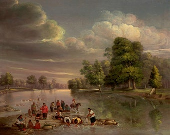 "George Winter : ""Scene on the Wabash"" (c1848) - Giclee Fine Art Print"