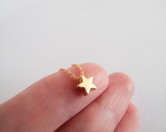 Tiny Gold Star Necklace - Gift for her