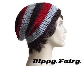 Autumn Red Grey and Brown striped hat