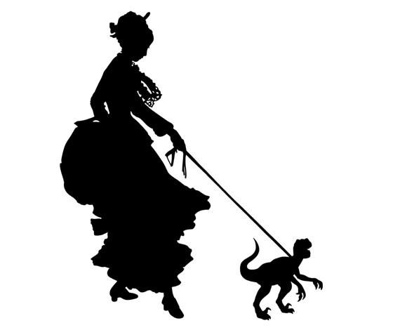 Silhouette Girl Lady with Pet Dinosaur Velociraptor Victorian Steampunk art print SMALL
