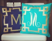 Monogram Throw Pillow Cover - Dark Teal Navy Metallic Gold or Silver Monogram