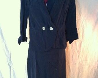 Vintage navy blue blazer and pencil skirt