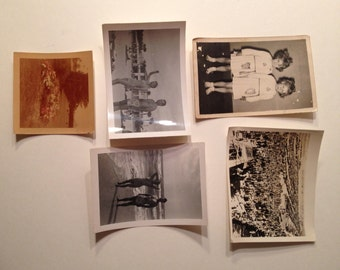 Lot of 5 very interesting vintage antique photographs - twins, bathing suits, funeral, cars