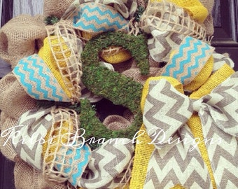 Burlap wreath with Turquoise//Yellow// Grey Chevron with moss center letter -  Chevrons Galore