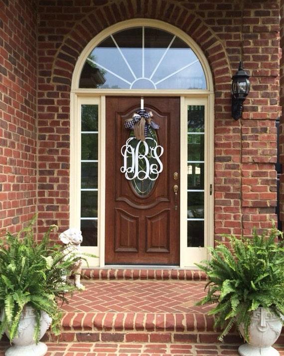 20 inch 3 letter wooden front door monogram with bow large With big wooden letters for front door