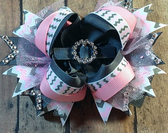 Pink and Grey Chevron Hair Bow - Boutique Bow - Stacked Bow - 5 inch