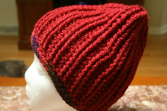 Crocheted Red Ribbed Beanie with Multicolored Trim