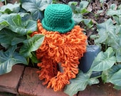 Handknit Leprechaun Hat with Beard - Child/ Adult Sizes - GeekistryDesigns