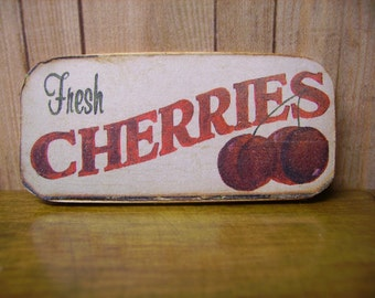 Fresh Cherries Miniature Wooden Plaque 1:12 scale