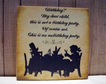 Unbirthday Party Miniature Wooden Plaque 1:12 scale