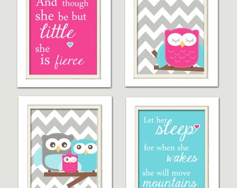 Nursery Quad, Bright pink and turquoise Nursery, Owl Nursery, Set of 4 8X10, Pink, turquoise