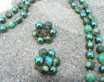 Vintage Green Two Strand Beaded Necklace and Clip On Earrings Marked Japan