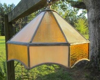 Vintage hanging light, Chandelier, glass light, retro light, 1960-70s, leaded light,swag light,
