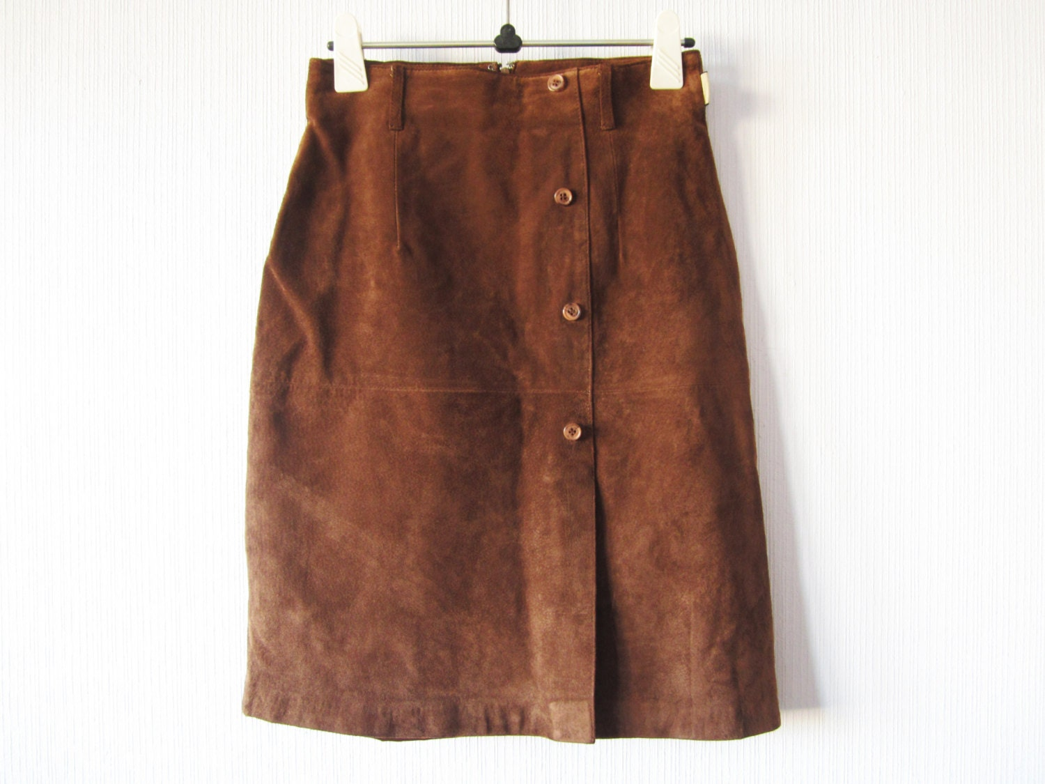 leather skirt coffee brown suede high waisted by