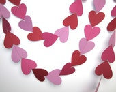 Paper Hearts garland, Wedding garland, Queen of hearts, Alice in Wonderland, Photo booth prop