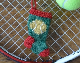 Tennis Ball Hand-Knit Christmas Stocking Ornament  *Available to Order - Christmas Delivery Not Guaranteed*