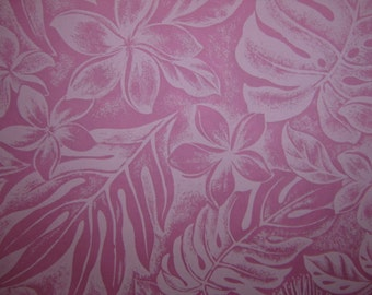Hawaiian Fabric - Pink Floral Print With Leaves on Pink