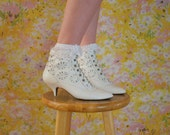 White Laced Leather Heeled Ankle Boots