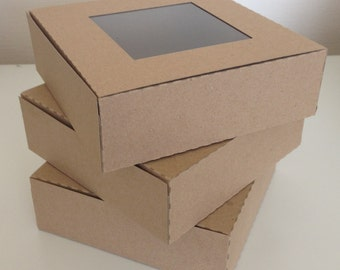 Kraft Card Square Gift Presentation Box With or Without Window (10)