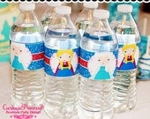 Ice Blue frozen glitter princess Printable WATER BOTTLE LABELS