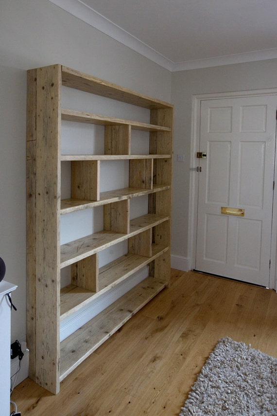 Large reclaimed wooden bookcase with vertical dividers