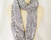 Eternity scarf black white striped infinity scarf cotton circle loop scarf Spring scarf