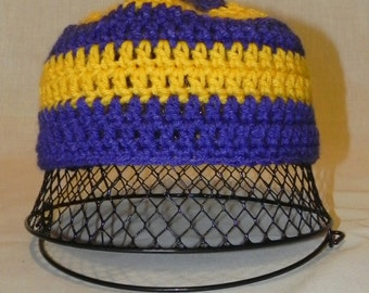 College Football Purple and Gold Crochet Hat