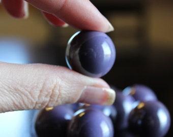 10 XL chunky UV plated  acrylic beads, 22mm, purple with darker shiny purple