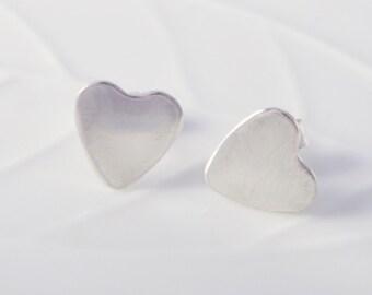 Sterling Silver Plain Heart Earrings Ear Studs handmade