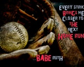 Guy's Photography, Guy's Wall Art, Man Cave Photography, Boy's Room, Baseball Photography, Baseball Photo, Baseball Print, Quote on Baseball