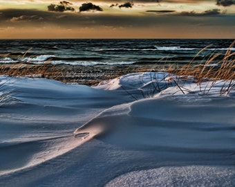 Michigan Photography, Michigan Art,Winter Beach Photography,Beach Print,Saugatuck Michigan,Oval Beach,Saugatuck,Beach Wall Decor, Lake Blues