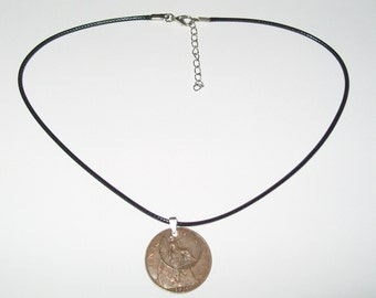 "Black Waxed Cord British 1920 Penny  & Farthing Necklace17"" 43cm With Extension Chain"