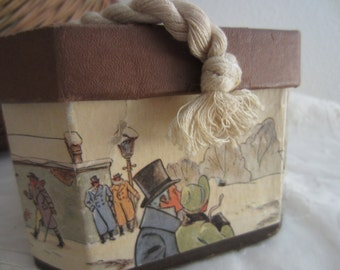Vintage salesman's sample hat box from Knox hats with rope handle and lid.