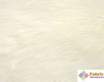 Ivory Pile Luxury Shag Faux Fur Fabric by the yard for costumes, coats, vests, home and studio use