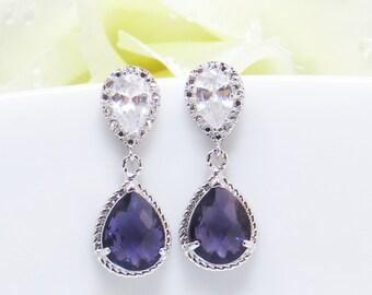 Purple Drop Earrings, Mothers Day Jelwery, Wedding Earrings, Bridesmaids Earrings, Wedding Jewelry, Dangle Earrings