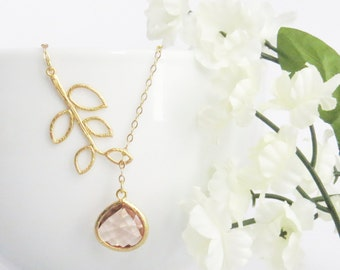 Gold Champagne Necklace, Gold Blush Necklace, Mothers Day Necklace, Mothers Necklace, Necklace for Mom, Gift for Best Friend, Mom Jewelry