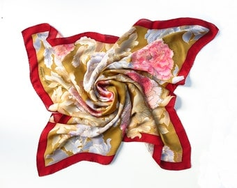 Peony red silk scarf. Floral hand painted scarf silk. Peony flowers silk scarves Red brown gray scarf batik. READY 2 SHIP