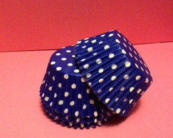 50 count - Grease Resistant Bright Blue with White Polka dots standard size cupcake liners/baking cups