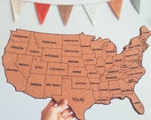 United States Corkboard Map with State Names USA Cork Map Hand Lettered Pin Board Gifts for Teachers Educational Classroom Map Office Travel