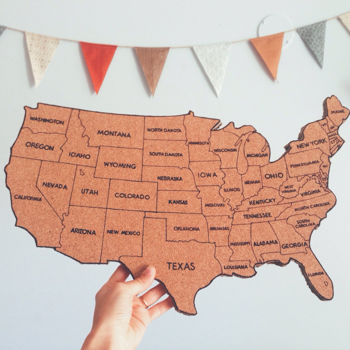 United States Corkboard Map With State Names USA Cork Map Hand - Us map full state names