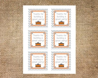 TOOL BIRTHDAY Square Tags- Instant Printable Download