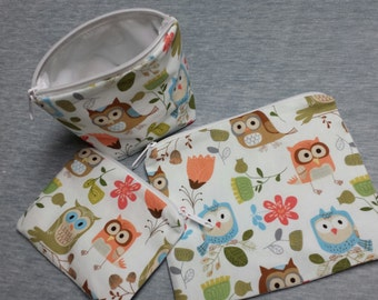 Reusable Sandwich Bag Set,Owl Snack Bags,Owl Lunch Baggies,Reusable Snack Bags Owls,Gadget Bags, Make-Up Bags, Nylon Lining, Zipper Closure.