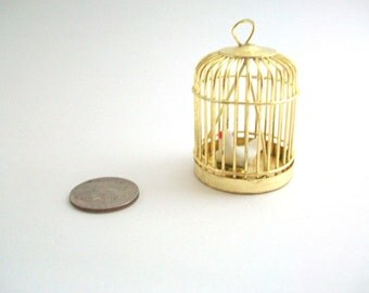 Miniature Birdcage, Dollhouse Birdcage, Brass Birdcage, Gold Birdcage, Tiny Birdcage, Birdcage with Bird, Dollhouse Pet, Birdcage Pendant