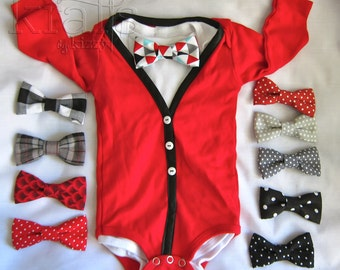 Baby Boy Long Sleeve Red with Black Cardigan Outfit with your choice of 1 removable Bow Tie (see additional photos for more tie options)