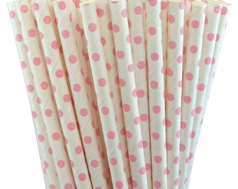 25 Light Pink Small Dots Paper Straws-7.75 Inches-Party Straws-Baby Girl Shower-Wedding-Party-Biodegradable